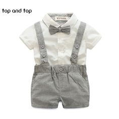 2016 summer style baby boy clothing set newborn infant clothing 2pcs short sleeve t-shirt + suspender gentleman suit #>=#>=#>=#>=#> Click on the pin to check out discount price, color, size, shipping, etc. Save and like it!