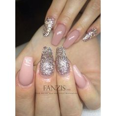 Champagne Nude Rosa Glitter Nails Nails found on Polyvore featuring beauty products, nail care and nail treatments