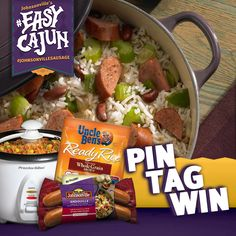 """PIN your favorite jambalaya, gumbo or other sausage-and-rice recipes, TAG with """" #EasyCajun with #JohnsonvilleSausage"""" and then ENTER at http://johnsonville.com/easycajun for a chance to #win a rice cooker, Johnsonville Andouille Sausage and Uncle Ben's rice!"""