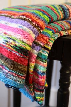 Lap Blanket Multicolored Chunky Knit Warm by LeosLovelyTreasures