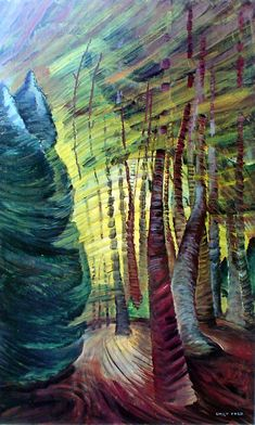 Emily Carr: Sombreness Sunlit, Canadian Group of Seven Canadian Painters, Canadian Artists, Landscape Art, Landscape Paintings, Tree Paintings, Emily Carr Paintings, Impressionist Paintings, Tree Art, Amazing Art