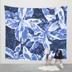 Aloha Blue Wall Tapestry by Vikki Salmela | Society6, #Hawaiian #tropical #leaves in #blues, original hand #painted #art on #home #decor #tapestries. Great for #curtains, room dividers, #bedspreads as well as wall art. Coordinating products are available; #duvet covers, #rugs, #clocks, #pillows and more.