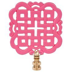 Hillary Thomas Dynasty Krystle Lamp Finial @Zinc_Door #zincdoor #finial #lamp #pink