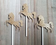 Horse cupcake toppers, gold horse toppers, horse cake topper, horse themed party, horse birthday party