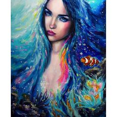 """""""Aqua"""" oil painting on vellum featuring the stunning and talented @relmxx  Prints available on my website (link in profile) ✌ #oilpainting #mermaid #aqua #clownfish #findingnemo #nymph #blueeyes #painting"""