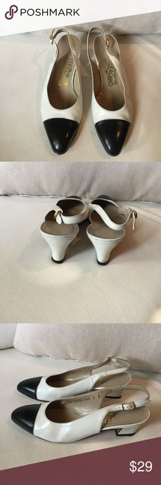 Vintage Ferragamo Black & White Slingback Heels 🎀 Vintage Ferragamo Black & White Slingback Heels size 7B                    #DS 12655240 in good condition some signs of wear as shown in the last pics 056410765 Salvatore Ferragamo Shoes Heels