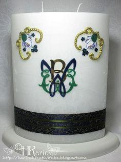 "Karins Kreativstube: Kerze ""Familienmonogramm"" blau Mugs, Tableware, Monogram, Candles, Christmas, Blue, Creative, Dinnerware, Tumblers"