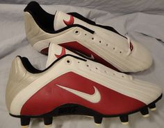 NIKE Football Cleats Men size 11.5 White,Burgundy Red, Silver #Nike