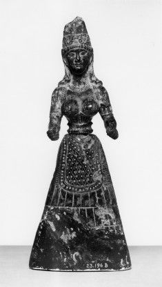 Snake Goddess with women's fitted bodice that ends bellow the breasts and bell-shaped skirt