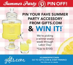 Summer Party Pin Off! #summerpintowin One person will win a summer accessory worth up to 100$ every week! See the post for details http://blog.gifts.com/giveaways/pin-to-win#