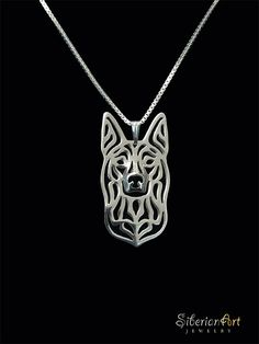 A unique Australian Kelpie pendant & necklace, designed by Amit Eshel. This fine jewelry will keep your best friend close to heart where ever you go! ------------------------------------ Size: the pendant measures approx. 15 x 29 mm x inches) and mm Thick Gold Pendant, Sterling Silver Pendants, Sterling Silver Chains, Pendant Necklace, Dog Jewelry, Fine Jewelry, Gold Jewellery, Metal Jewelry, Gold Bullion