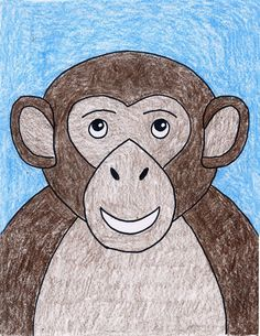 Easy Monkey Drawing · Art Projects for Kids Art Drawings For Kids, Drawing For Kids, Painting For Kids, Cartoon Drawings, Animal Drawings, Easy Drawings, Art For Kids, Monkey Art Projects, Drawing Projects