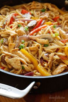 Cajun spiced pasta tossed with chicken strips, bell peppers, red onion, mushrooms and scallions in a creamy light sauce. One of the easiest ways to lighten up a pasta dish is to add tons of protein and vegetables to your dish which keeps the portions large and the carbs low and this dish is a perfect example. Be sure to be generous with your Cajun spices, it should have plenty of kick so don't be shy! I took a knife skills class at Sur La Table this week with my girlfriend and of c...