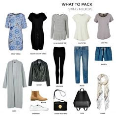 How to plan and pack for a European spring-summer holiday – european travel outfit summer Europe Outfits, Mode Outfits, Travel Outfits, Travelling Outfits, Traveling, Fashion Outfits, Fashion Tips, Travel Wardrobe, Capsule Wardrobe