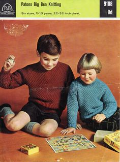 vintage childrens / childs sweater knitting от coutureknitcrochet