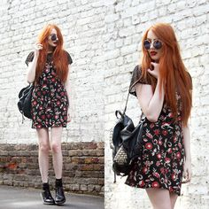 Olivia Emily: Yayer Net Top, Asos Reclaimed Vintage Floral Fabric Dress, Rebecca Minkoff Backpack, Topshop Sunglasses, Dr. Martens Boots