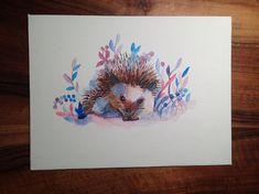 Hedgehog painting handmade no print