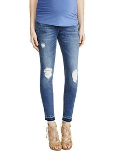 The perfect everyday blue jean | Secret fit belly 5 pocket straight leg maternity jeans by Jessica Simpson available at Motherhood Maternity