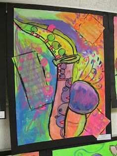 Creating a piece of art based on a song, focusing on one major instrument - could be a great project to get 4th grade excited about joining band