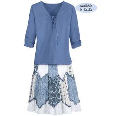 Blue Print Top and Skirt Set - Gifts, Clothing, Jewelry, Home Decor and Home Furnishings - Unique and Affordable Gifts | Potpourri Gift