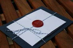 Wax Seal and Twine Wrapped Wedding Invitation