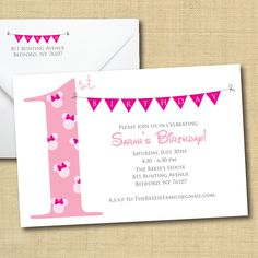 Printable Minnie Mouse Invitation with Bunting, Matching Return Address (more colors available). $13.00, via Etsy.