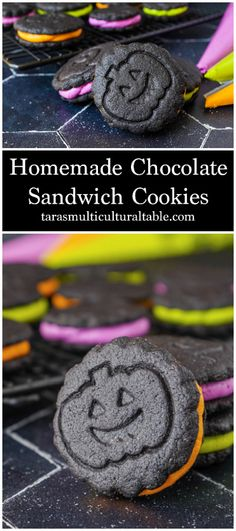 A recipe for Homemade Chocolate Sandwich Cookies! These dark chocolate cookies are filled with a sweet vanilla buttercream.