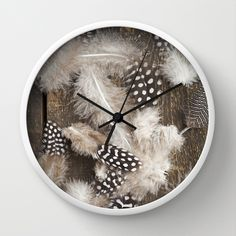 Feathers of guinea fowl Wall Clock by Elisabeth Coelfen - $30.00