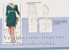 Patrón y costura : Corte imperio y sobrefalda en el vestido-tema 91