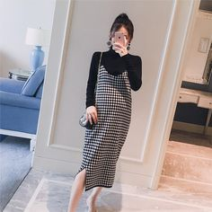 Black Knitted Maternity Bottoming Shirts + Sling Plaid Dress Autumn Korean Fashion for Pregnant Women Pregnancy-in Dresses from Mother & Kids on Cute Maternity Outfits, Stylish Maternity, Maternity Dresses, Maternity Wear, Maternity Fashion, Maternity Style, Pregnancy Wardrobe, Pregnancy Shirts, Pregnancy Outfits