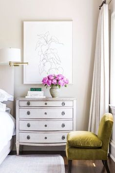 Bedside Table styling and pops of pink