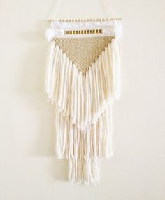 weaving wall hanging / white triangle no 3 / hand woven tapestry wall hanging textile art on Etsy, $200.00 CAD