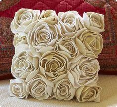 diy layered felt flowers white Rosette Pillow - home decoration, felt flowers crafts
