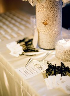 Vases filled with PEARLS. Perfect recruitment decor idea.