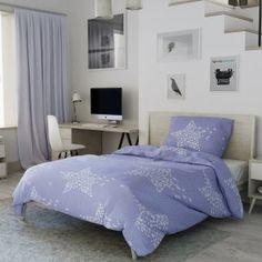 Bavlněné povlečení levné modré fialové bílé pruhy proužky hvězdy hvězdičky vánoční moderní Comforters, Blanket, Bed, Furniture, Home Decor, Creature Comforts, Quilts, Decoration Home, Stream Bed