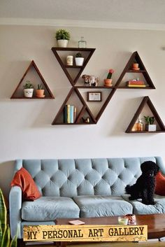 Triangle shelves would make great earrings displays.