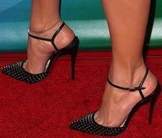 "Jennifer Lopez wearing Christian Louboutin ""Baila"" spiked ankle-strap pumps"