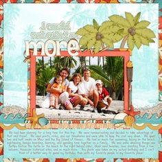 Hawaii beach vacation scrapbook layout