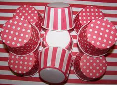 Treat Cups 12 Red/White Stripes Cups Use For Ice by shabbygirl2, $3.40