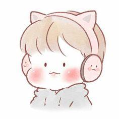 Baekhyun Fanart, Exo Fan Art, Beige Aesthetic, Kpop, Cute Icons, Cute Art, Ems, Chibi, Hello Kitty