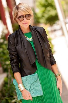Cute outfit love that green dress