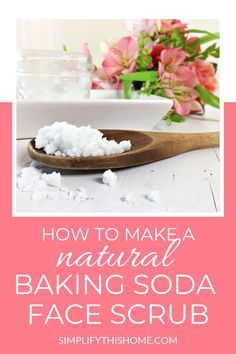 This natural baking soda face scrub recipe is perfect for getting clear skin and a bright glow! And since it only has 2 ingredients its easy to DIY at home. Its great for acne dry skin and sensitive skin too. Diy Exfoliating Face Scrub, Diy Face Scrub, Face Scrub Homemade, Diy Scrub, Homemade Skin Care, Diy Skin Care, Homemade Moisturizer, Homemade Facials, Homemade Beauty