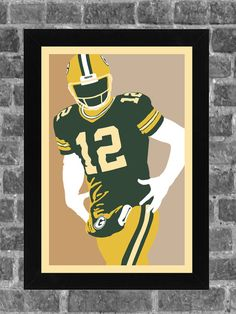 Green Bay Packers Aaron Rodgers Portrait Sports Print Art 11x17
