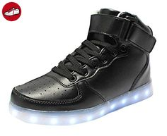 (Present:kleines Handtuch)Schwarz EU 39, Aufladen LED mode Unisex Farbe Farbwechsel Hoch USB Damen High-top Schuhe Sneaker Herren 7 für Sport