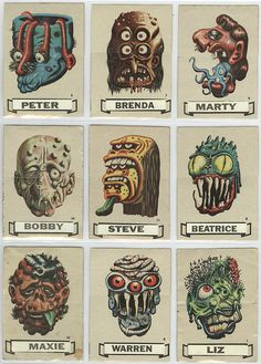 """Here's a selection of interesting vintage monster stickers labeled """"Name Stickers"""" in which you were to place a name tag on the . Monster Eyes, Monster Art, Horror Comics, Horror Art, Monster Illustration, Illustration Art, Mascaras Halloween, Monster Stickers, Cartoon Monsters"""
