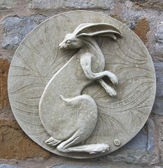 Garden Wall Plaques - Animal Wall Plaques Find Hare Wall Plaque Spirit of St Melangell Brighten your garden or home with one of our marble wall plaques. We have a choice of superbly crafted animal designs. Hare Images, Rabbit Sculpture, Art Optical, Pottery Techniques, Bunny Art, Woodland Creatures, Glazes For Pottery, Animal Design, Ancient Art