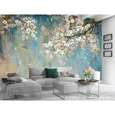 Watercolor White Flowers Textile Wallpaper Trees of Blossom .- Watercolor White Flowers Textile Wallpaper Trees of Blossom Wall Murals Watercolor Paint Art for Living Room Bedroom Kitchen Entryway image 0 - Art Mur, Mural Wall Art, Painting Murals On Walls, Painted Wall Murals, Decorative Wall Paintings, Painting Designs On Walls, Wall Painting Living Room, Decorative Walls, Paint Walls