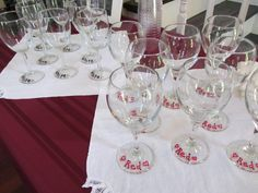Wine Party - Red and White glasses labelled with paint pins. Add guests names for more personal touch