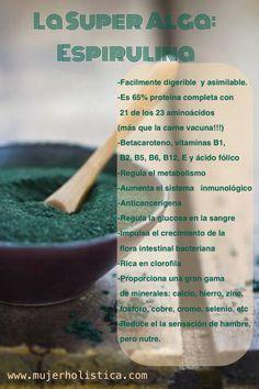 La espirulina es un Super ALIMENTO ya que el valor nutricional que tiene esta alga se debe por una parte, a la gran cantidad de fitonutrientes que contiene, Minerales, Omegas 3 y 6, Calcio, Hierro, Clorofila, Microelementos, etc... y por otro lado su biodisponibilidad.