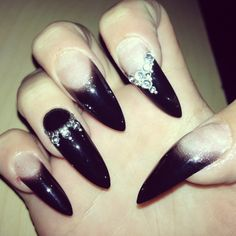 Wicked nails, long nails, stiletto nails, claw nails, fingers, nails, nail designs, black nails, witchy nails